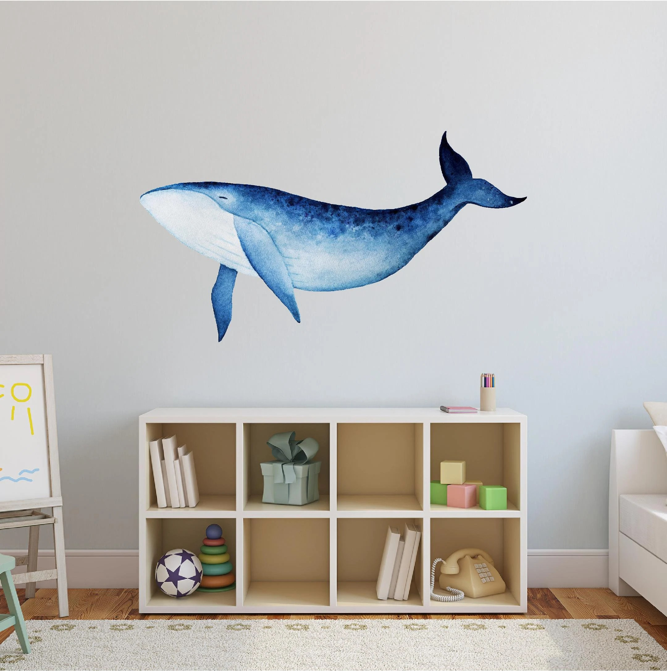 Design Vip Chambre De Bebe Blue Whale Wall Decal Sticker Nautical Nursery Baby Room Decor Ocean Sea Wall Art Baby Shower Gift Removable Self Adhesive Vinyl