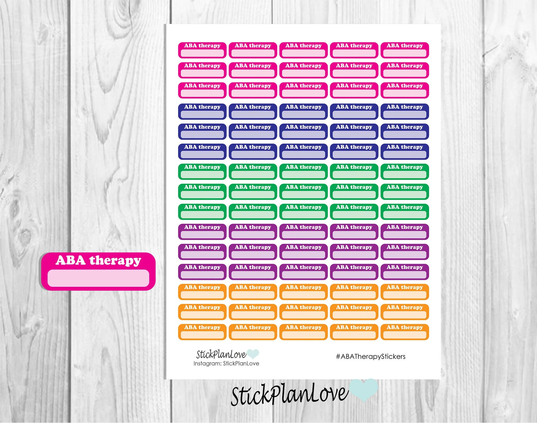 ABA Therapy Planner Stickers Therapy Stickers Planner Etsy
