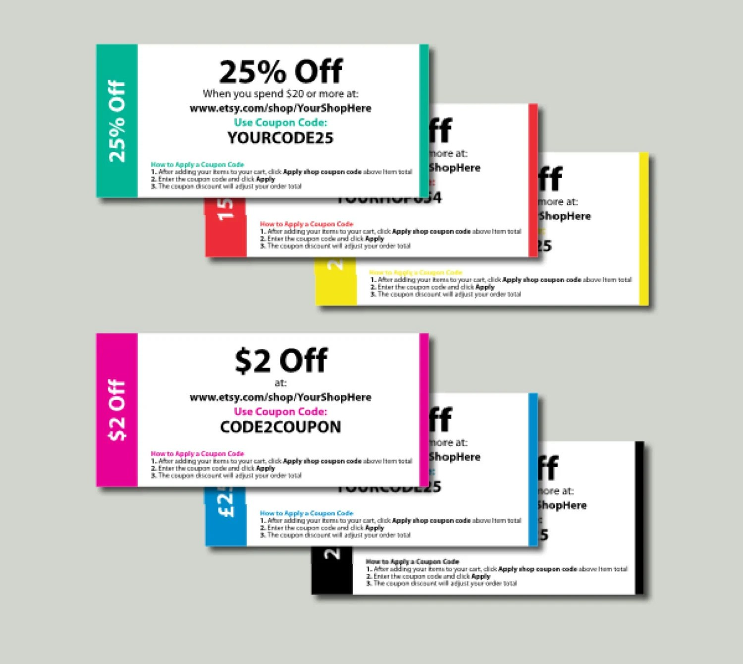 Editable Coupon Template - Print Your Own Etsy Coupons - 6 colours - print your own voucher