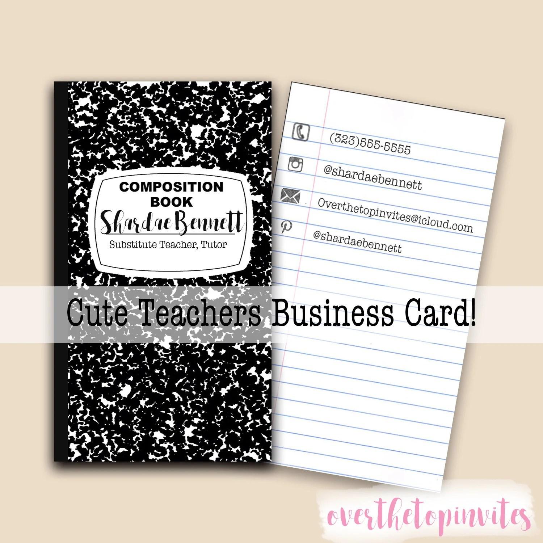 Teachers Business card Composition book business card-Cute Etsy