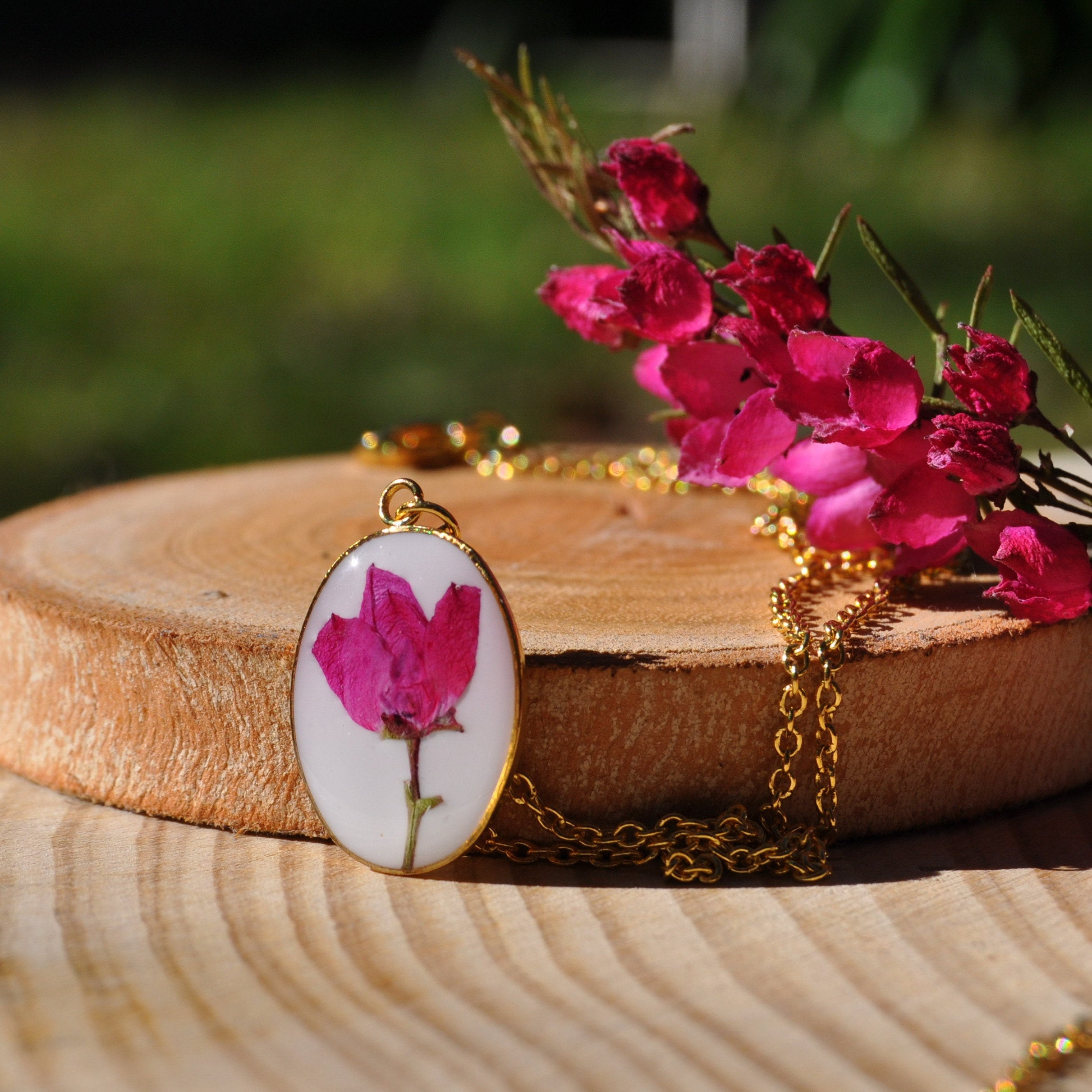 Pink Flowers Australia Pink Flower In Resin Necklace Boronia Necklace Australian Flower Necklace Gift From Australia Best Friend Gift Gold Pendant