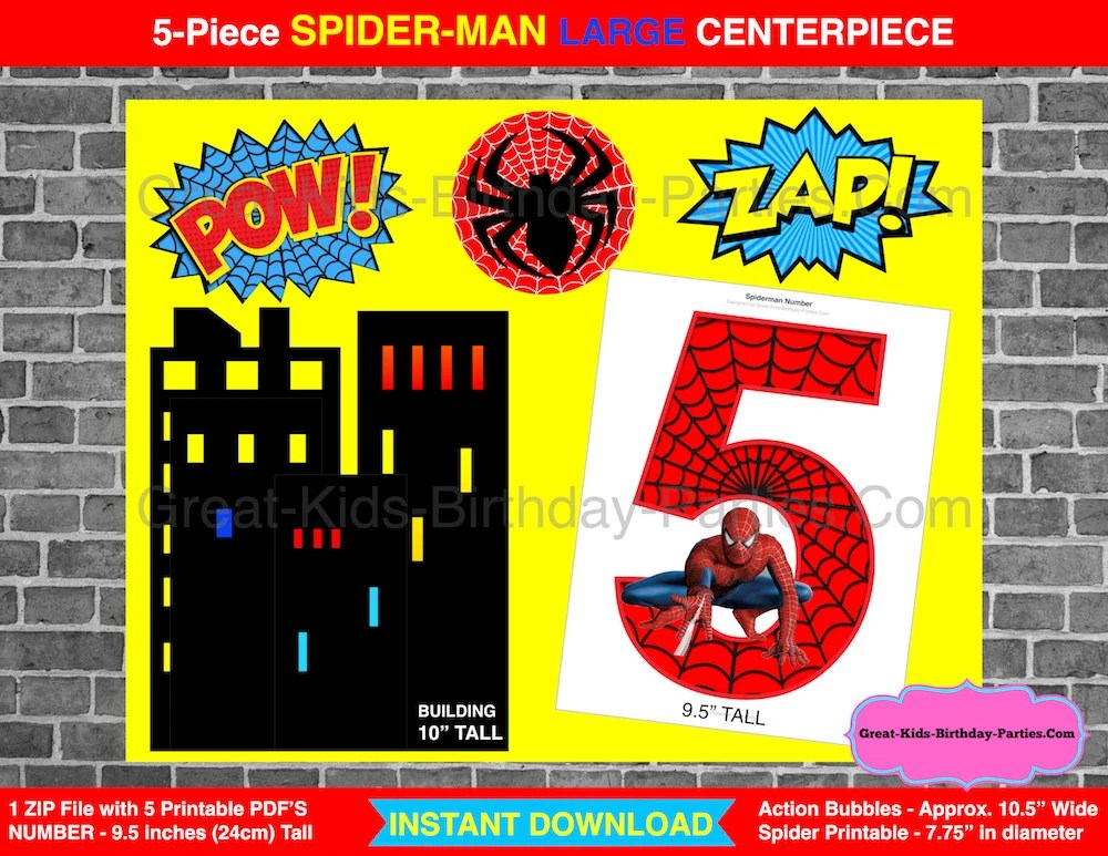 SPIDERMAN PRINTABLE NUMBER 5 Centerpiece Instant Download Etsy