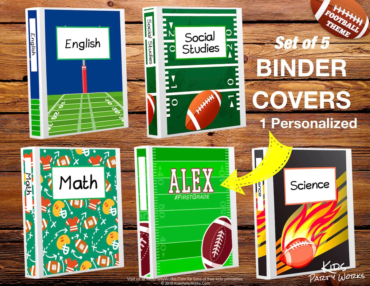 PRINTABLE BINDER COVERS-1 Personalized Binder Cover-Football Etsy