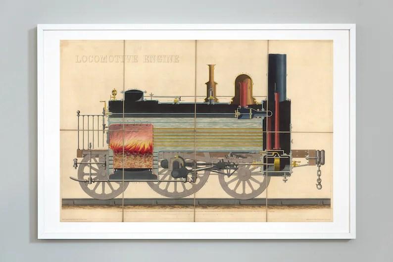 Train Print Locomotive Engine Train Diagram Print Steam Etsy
