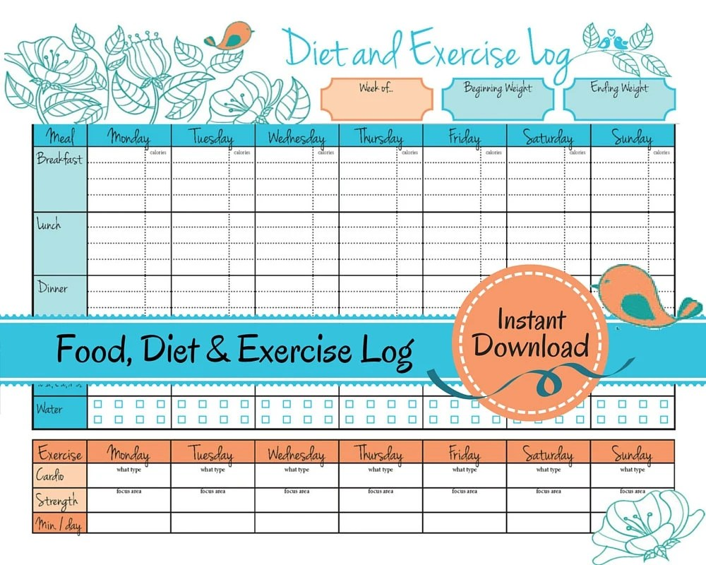 Weight Loss Journal Food Diet Exercise Log diet log food Etsy