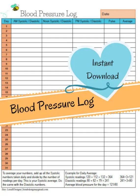 Monthly Blood Pressure Chart Systolic/Diastolic Blood Etsy