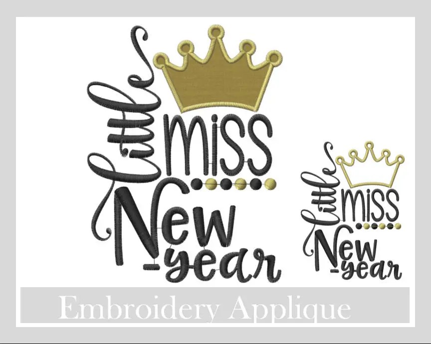 Little Miss New Year Crown Embroidery design New year Etsy