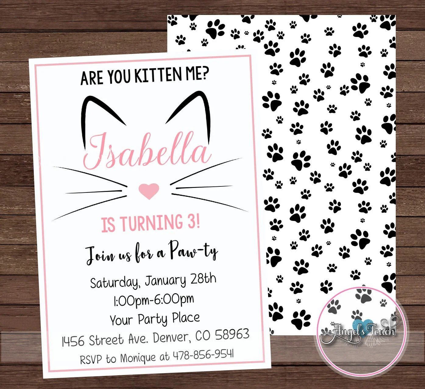 Kitty Party Invitation Kitty Birthday Invitation Cat Etsy