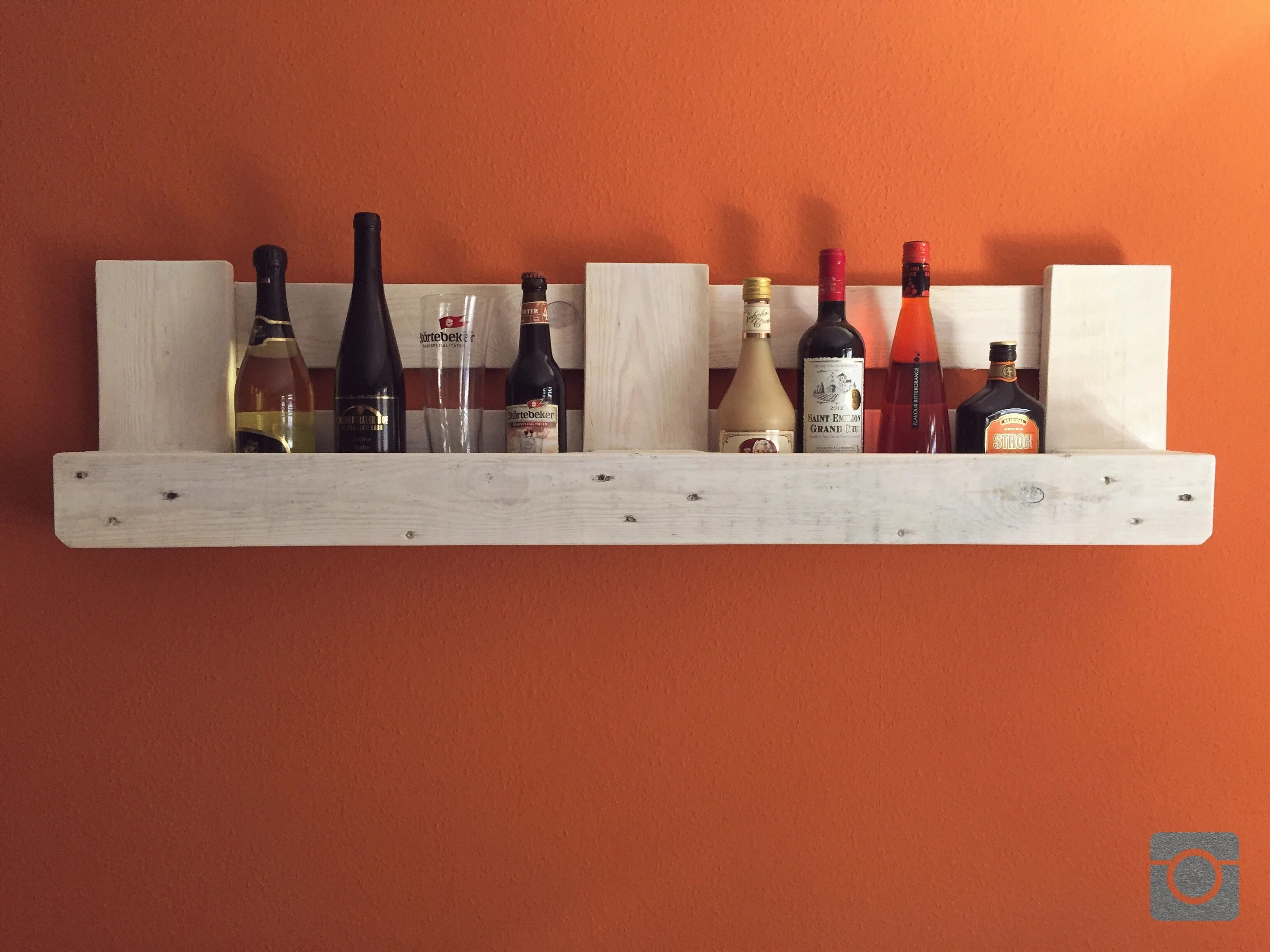 Bar Europaletten Pallet Shelf Wine Rack Bar White Glaze Europalette