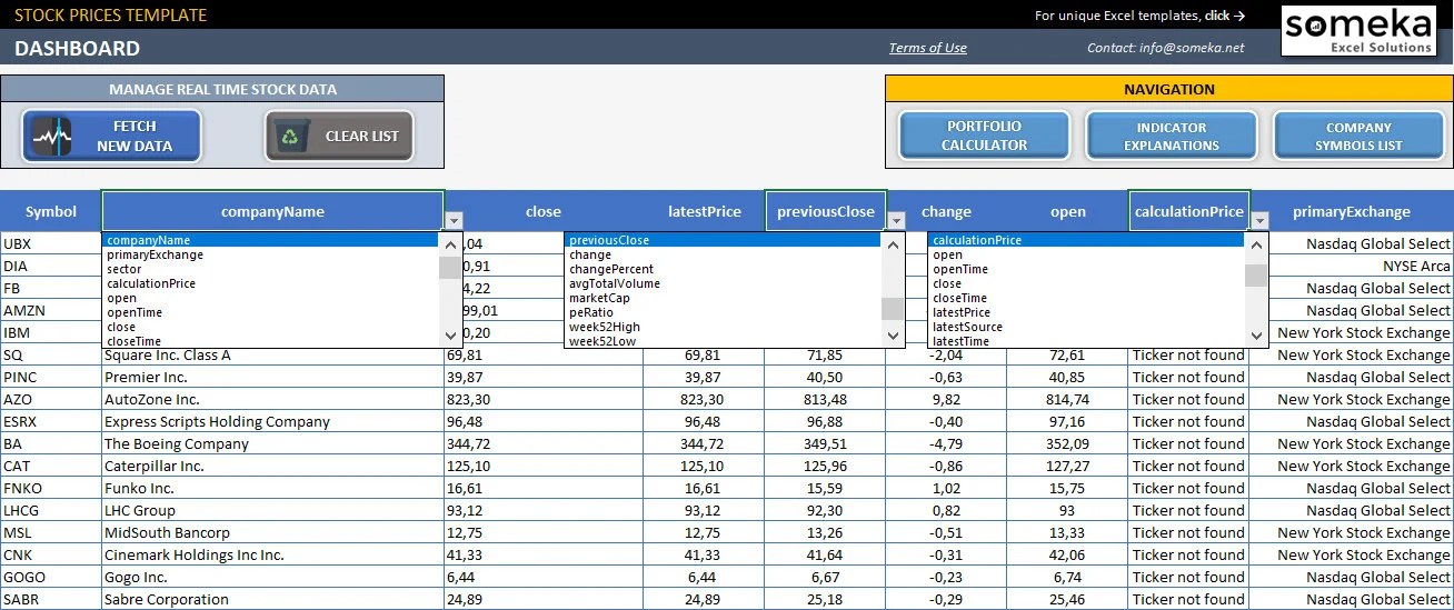 Excel Stock Price Calculator Real-Time Stock Quotes Etsy