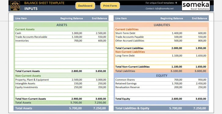 Balance Sheet Template Small Business Tools Excel Template Etsy