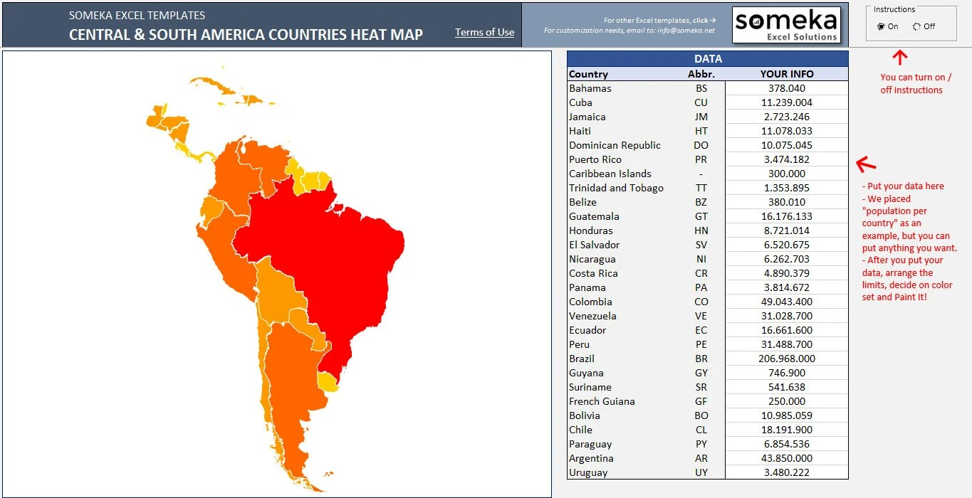 Central  South America Heat Map in Excel Automatic Country Etsy
