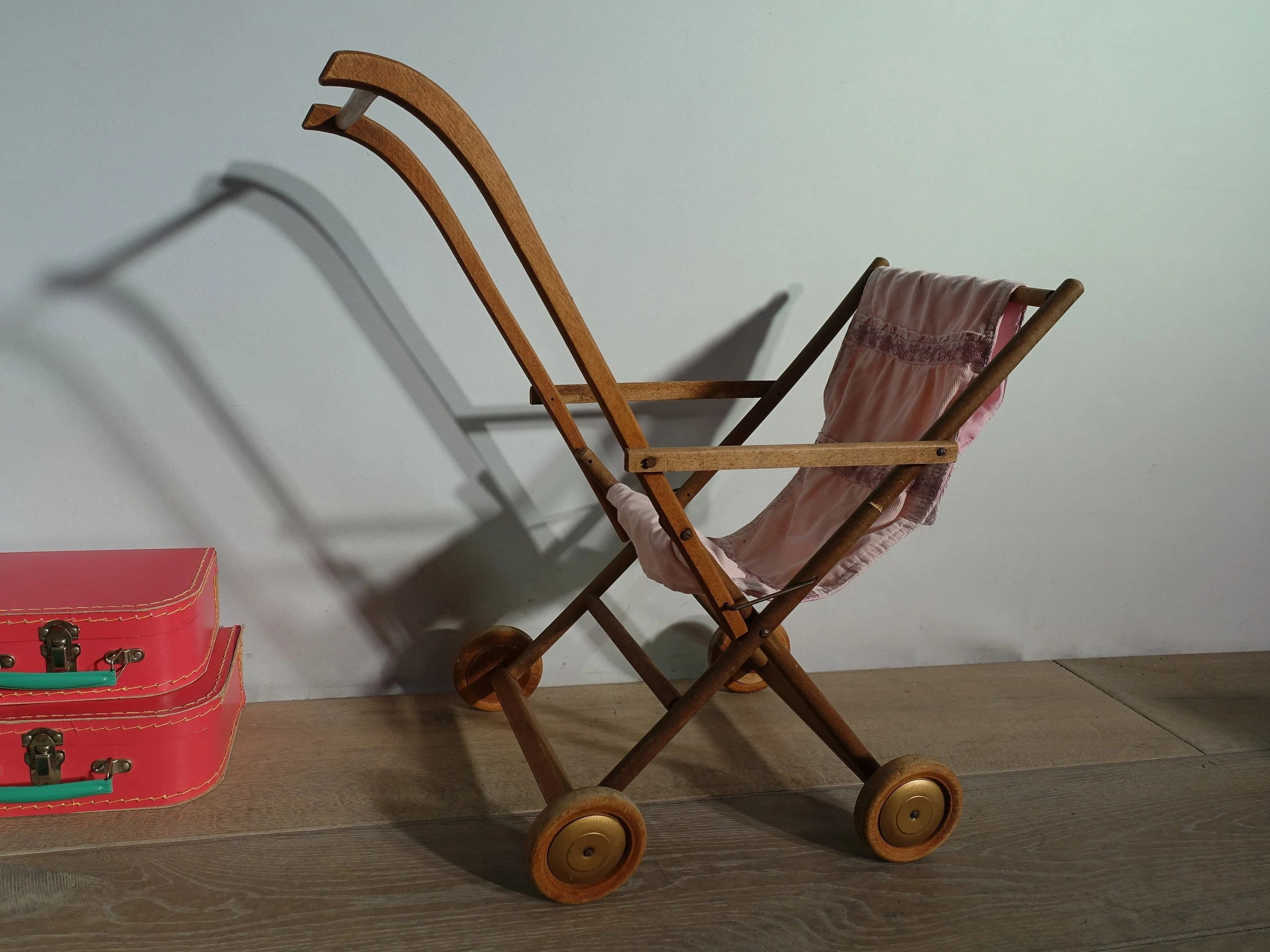 Vintage Toy Stroller Antique Baby Carriage Stroller Wood Vintage Child S Toy France Old Vintage Wooden Baby Toy Pram Stroller French