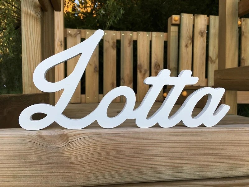 Lotta-Lacquered wood/wood lettering/Individual design Etsy