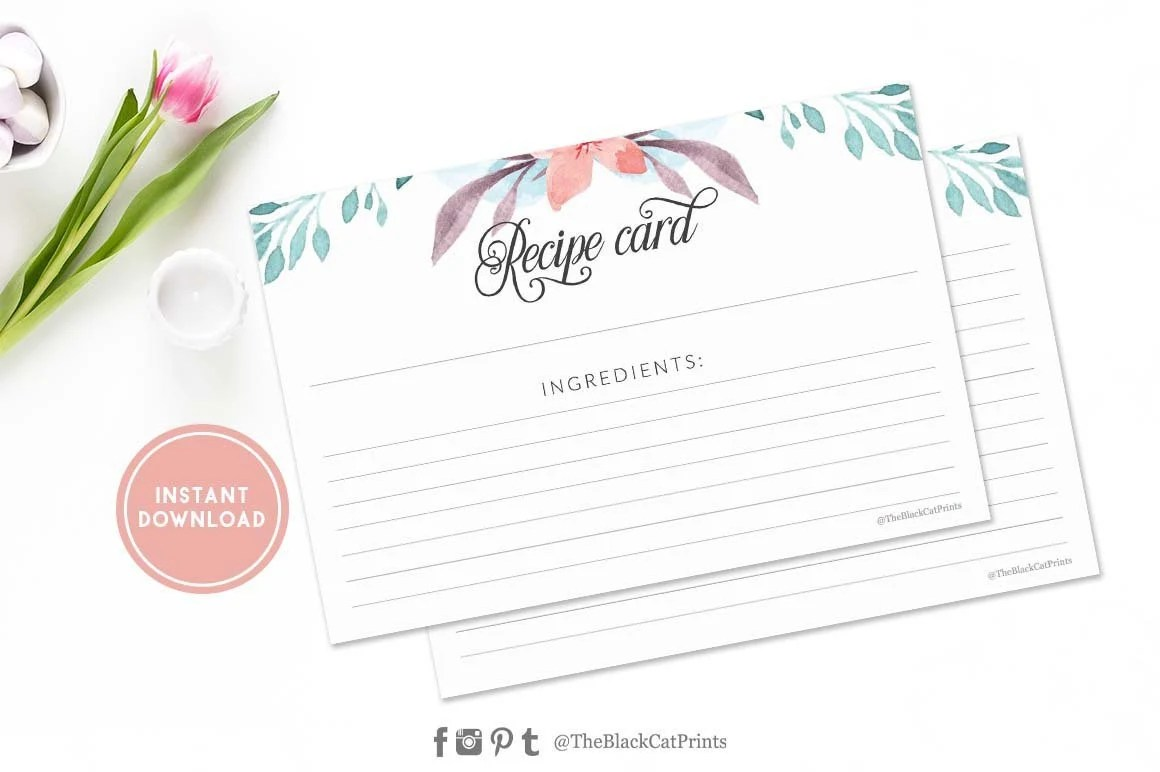 Printable recipe card Floral Recipe card Fillable recipe card