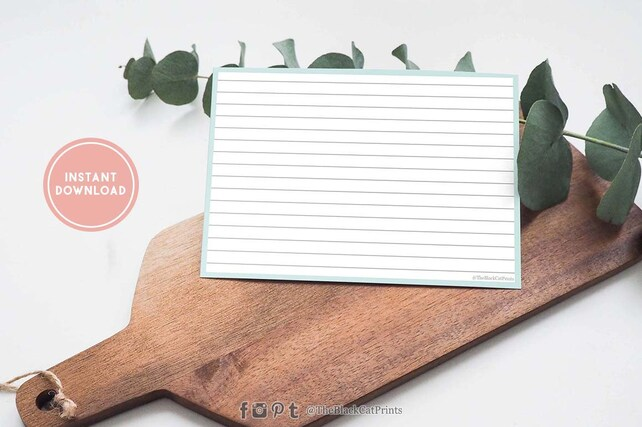 Vegan Recipe card Printable Elegant recipe card Simple minimalist
