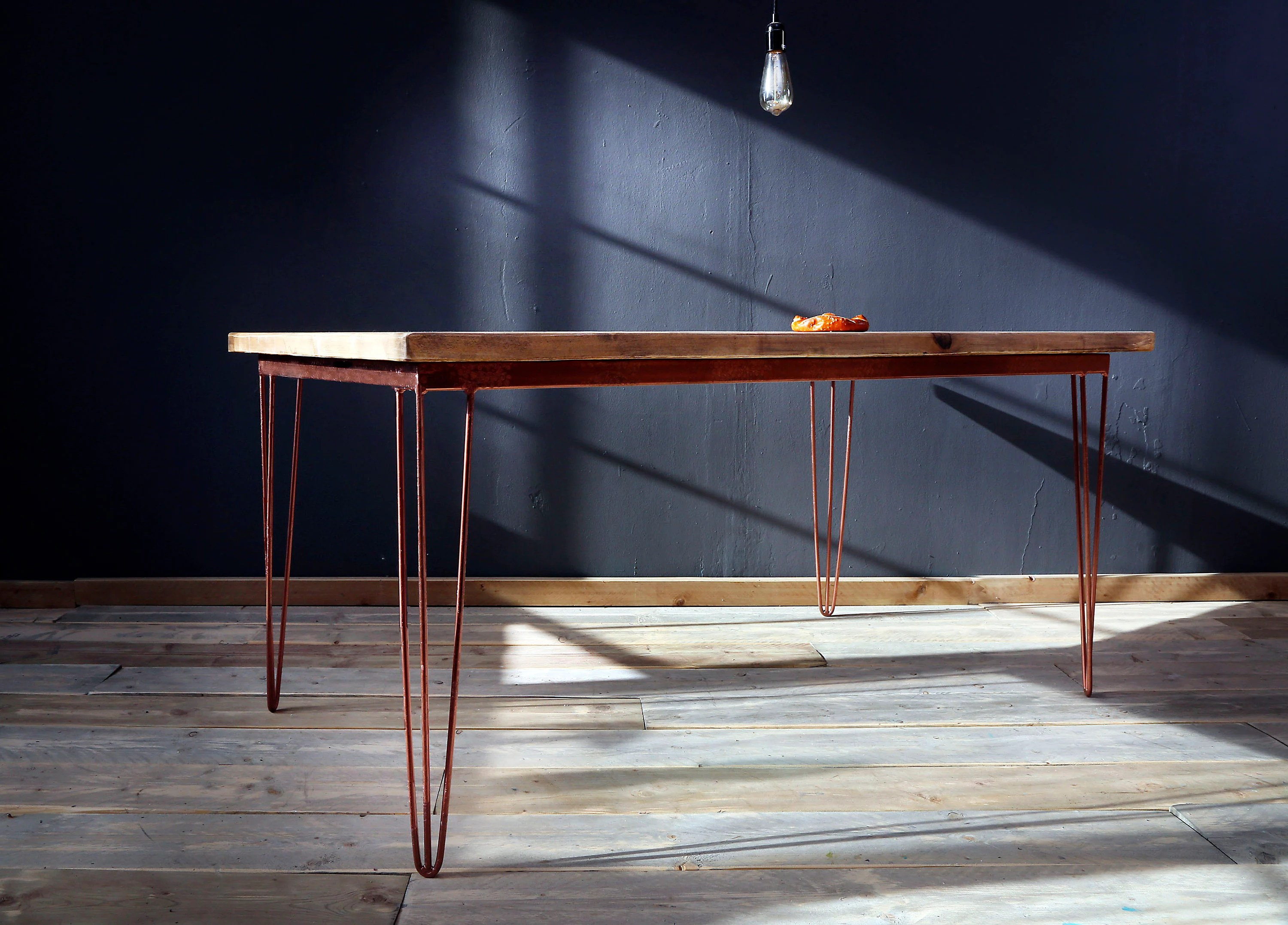 Kiefer Holzstruktur Dining Table Hairpin Copper Colour Corinne 200 X 100 Cm