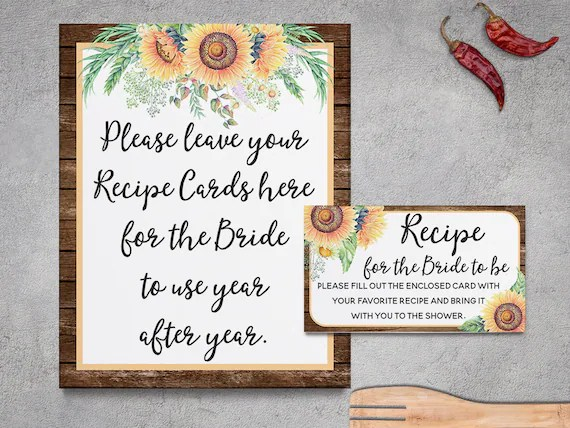 Rustic Recipe Cards Bridal Shower Sunflowers Rustic Bridal Etsy