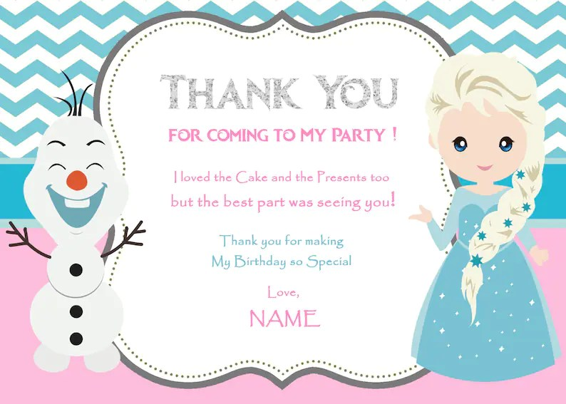 Frozen Thank You Cards Frozen Thank You Notes Frozen Etsy