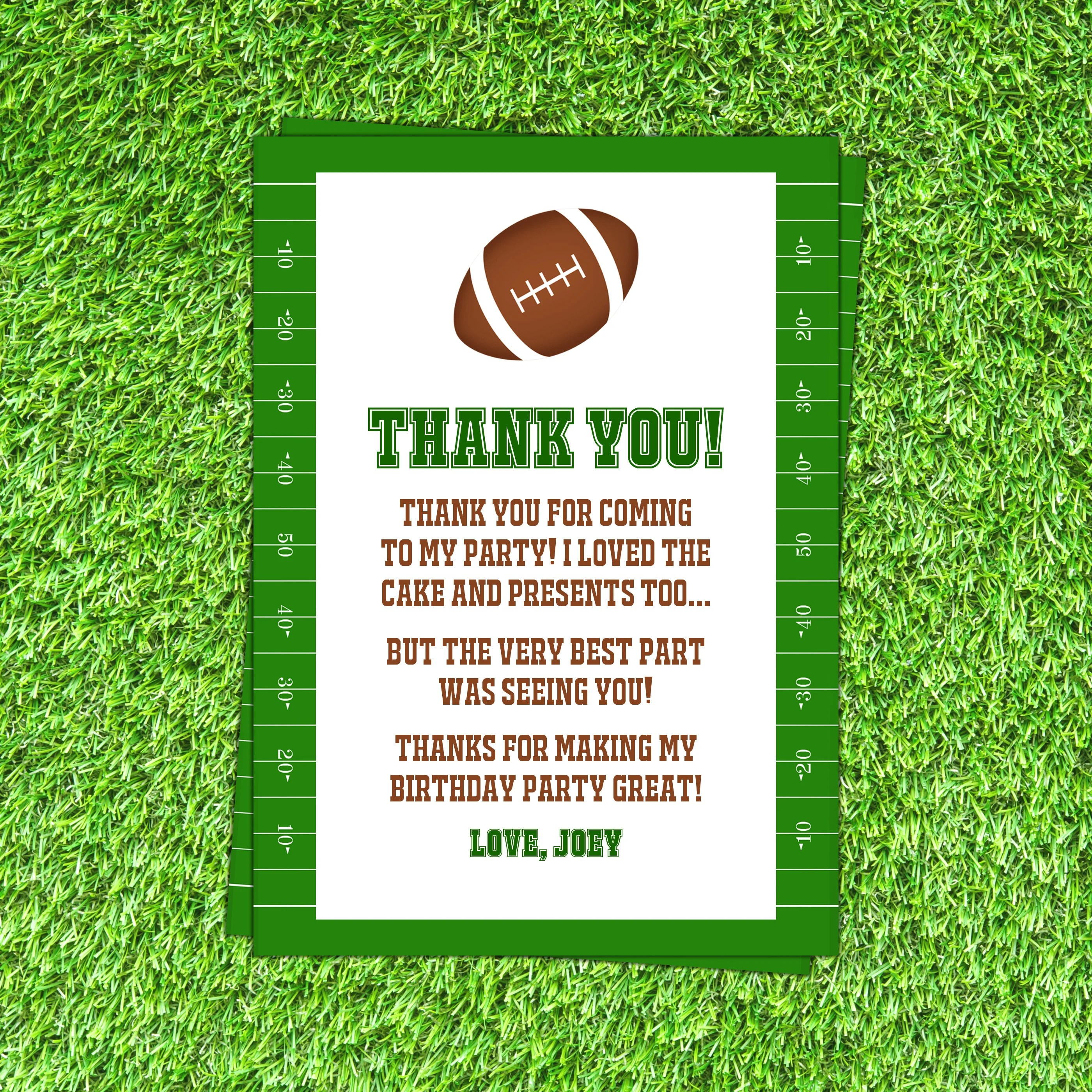 Football Thank You Cards Football Thank You Notes Football Etsy