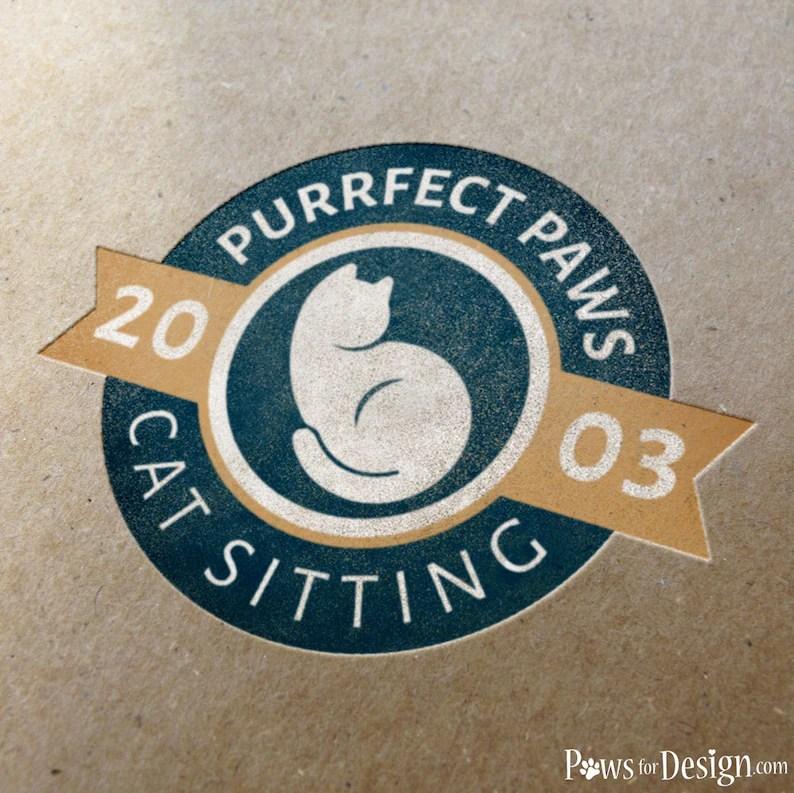 Pre-made Vintage Badge Cat Logo Cat Sitter Cat Groomer Cat Etsy