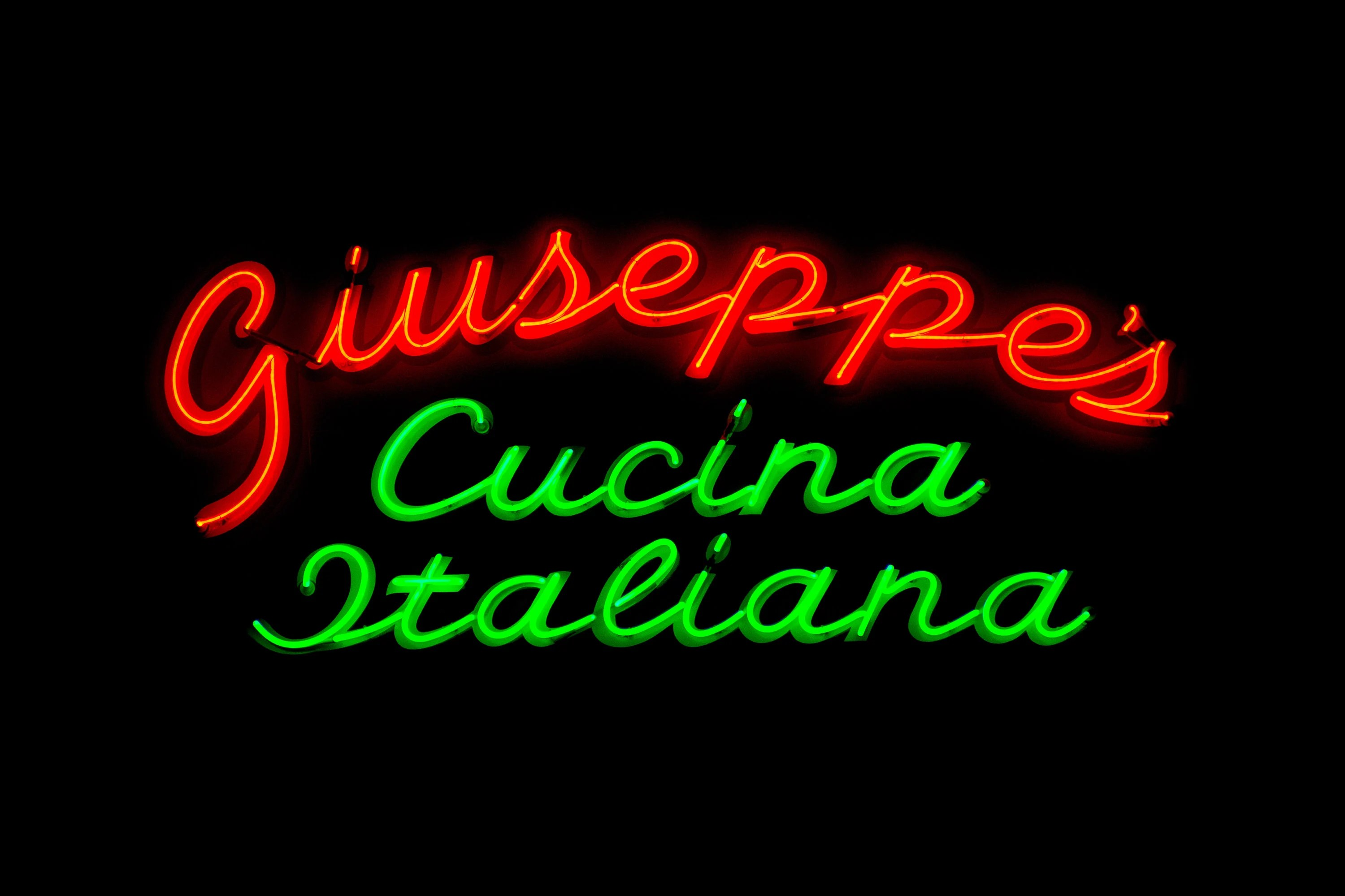 Neon Cucina Giuseppe S Italian Restaurant Print Art Print Gift Kitchen Sign Home Decor Wall Artwork Neon Printable Digital Download Quote