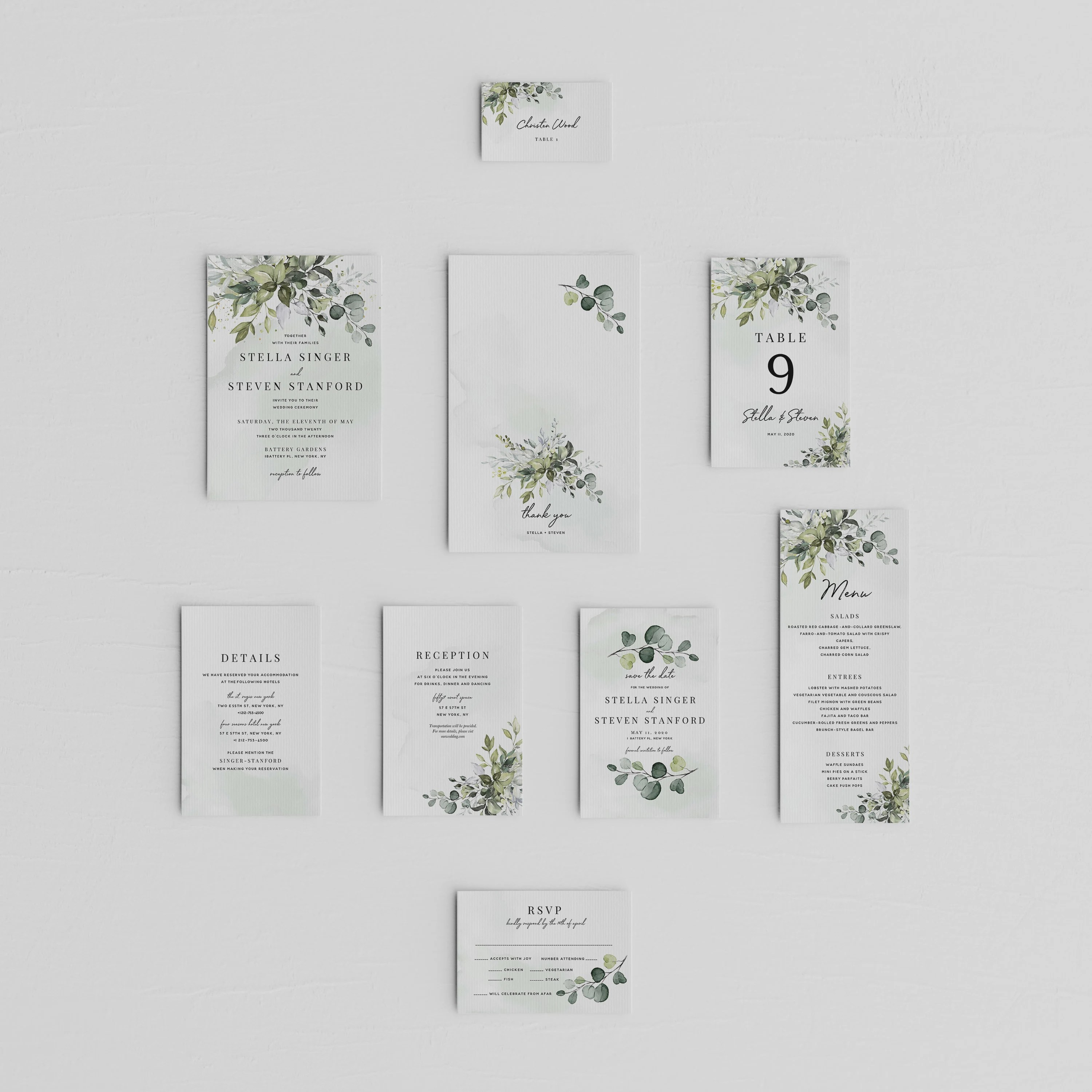 SALE Greenery Wedding Invitation bundle Greenery Wedding Etsy