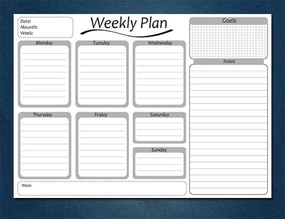 Weekly planner daily schedule desk planner Teacher planner Etsy