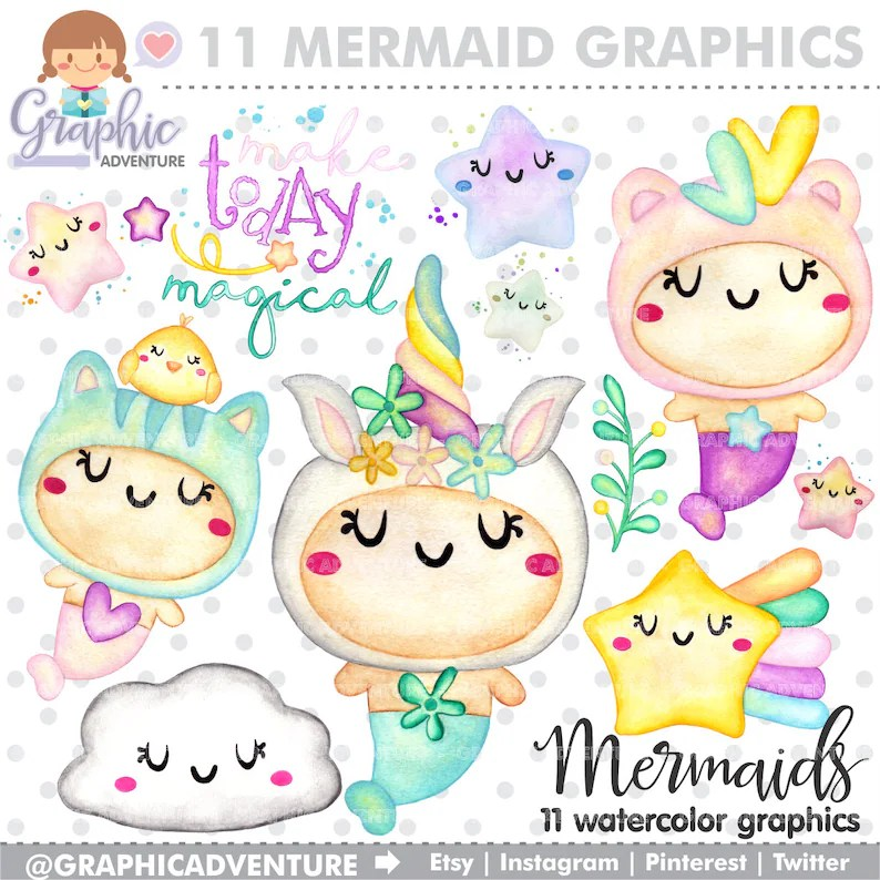 Mermaid Clipart Mermaid Graphics Make Today Magical Etsy