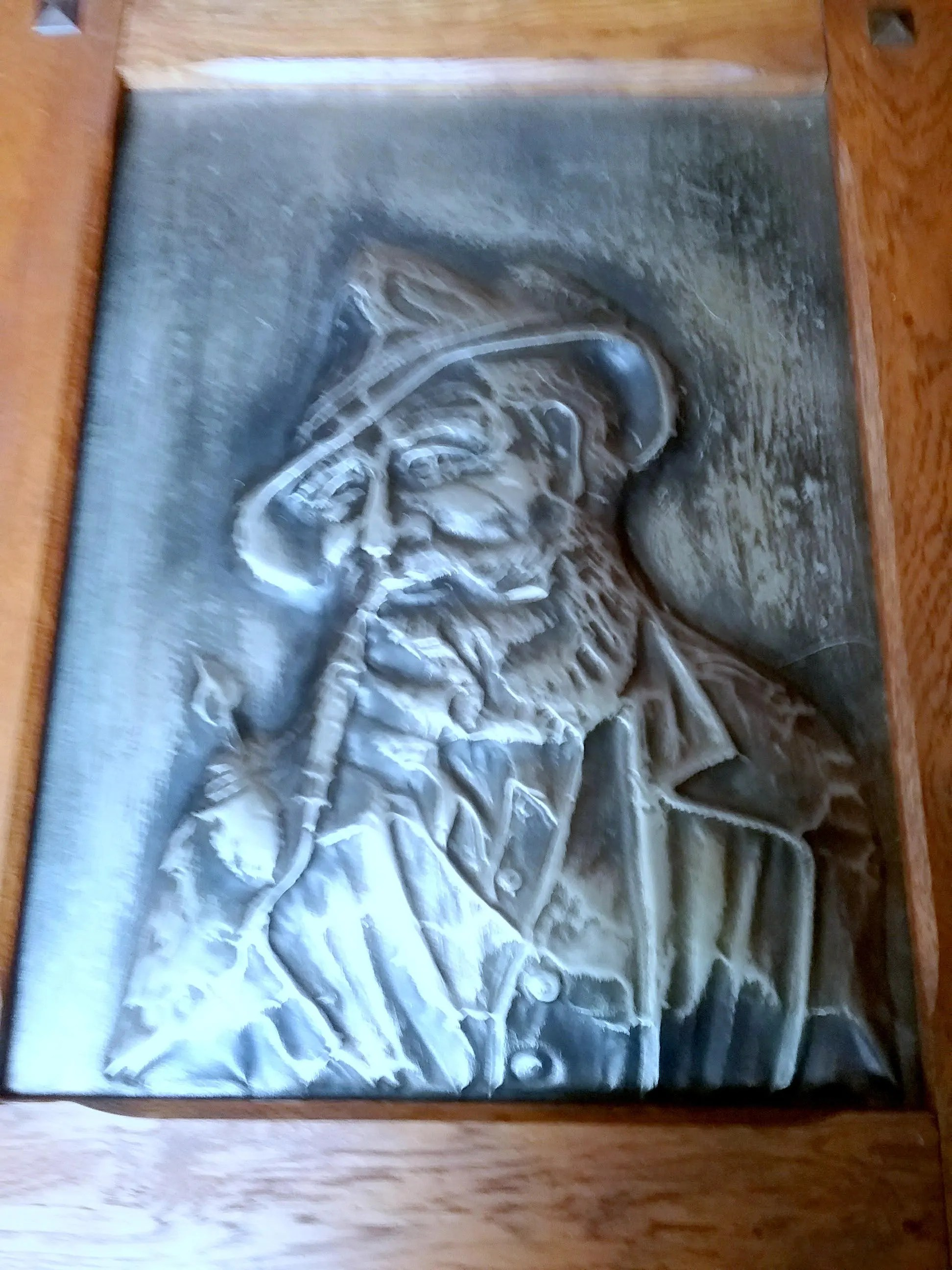 Motif Relief Metal Image Tin Relief Antique Motif Old Man With Hat Massive