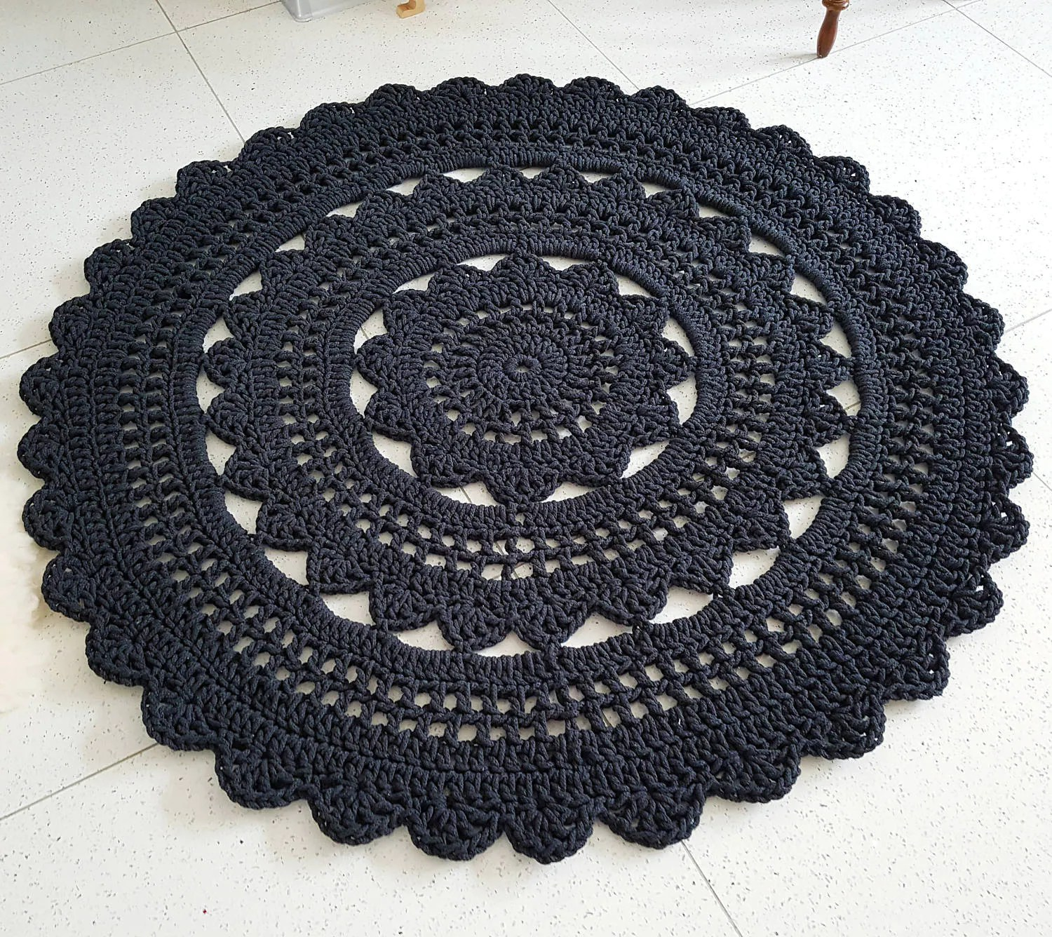 Teppich Rund Shabby Chic Black Large Doily Rug Tapis Bohemian Hippie Shabby Chic Country Bedroom Rustic Floor Decor Teppich Rund Alfombra Trapillo Modern Carpet