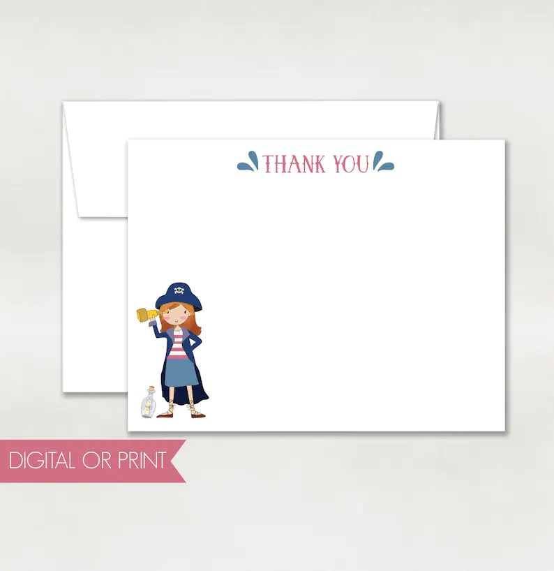 Pirate Thank You Pirate Note Card Printed Flat Note Card Etsy