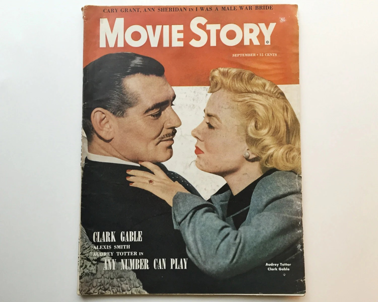 Vintage Bad Copy Movie Story Magazine September 1949 Cover Clark Gable