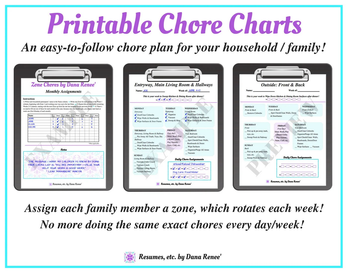 Weekly PRINTABLE CHORE CHARTS Zone Chore Schedule Parents Etsy