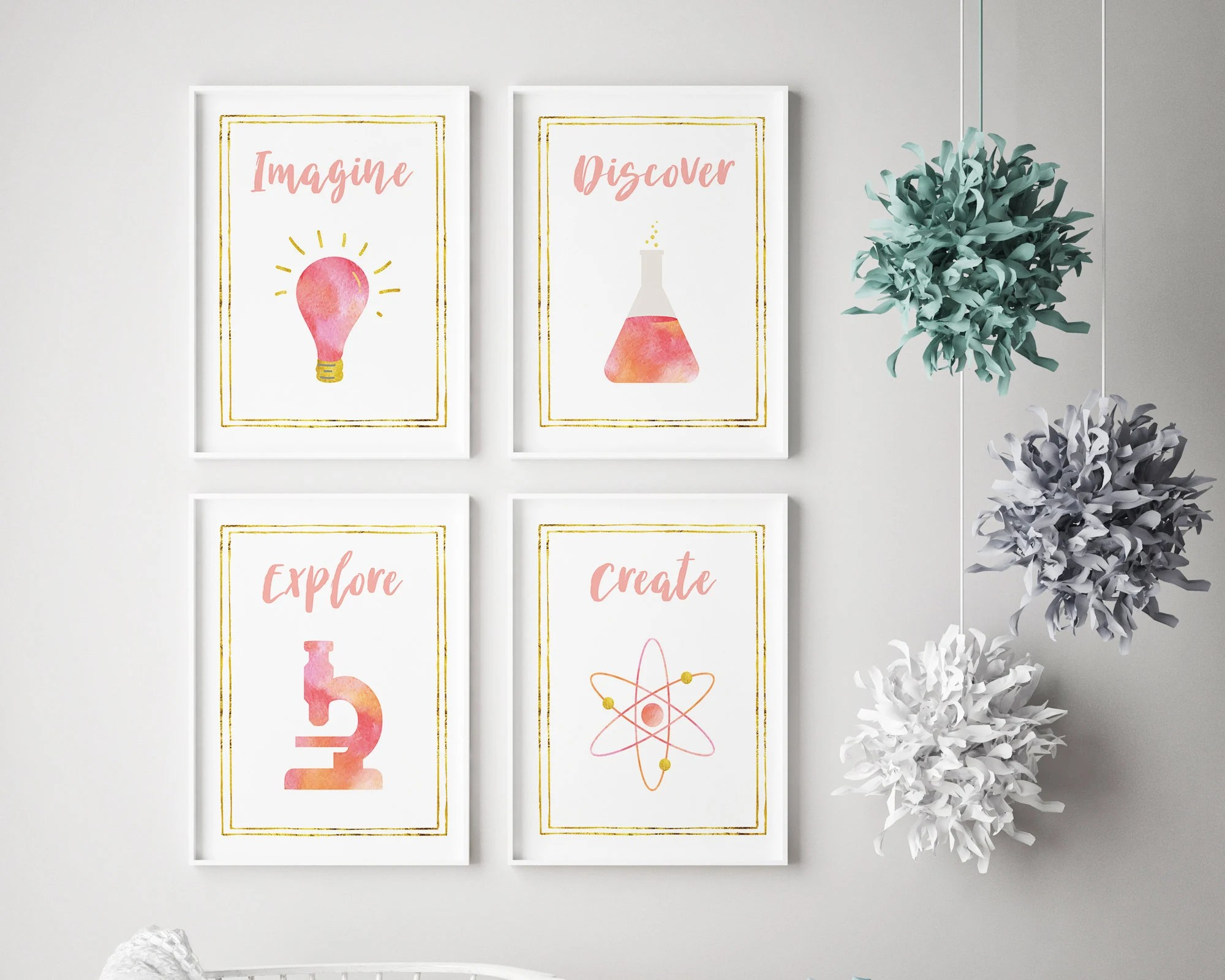 Dorm wall decor print set / Gold and pink locker accessories / Etsy
