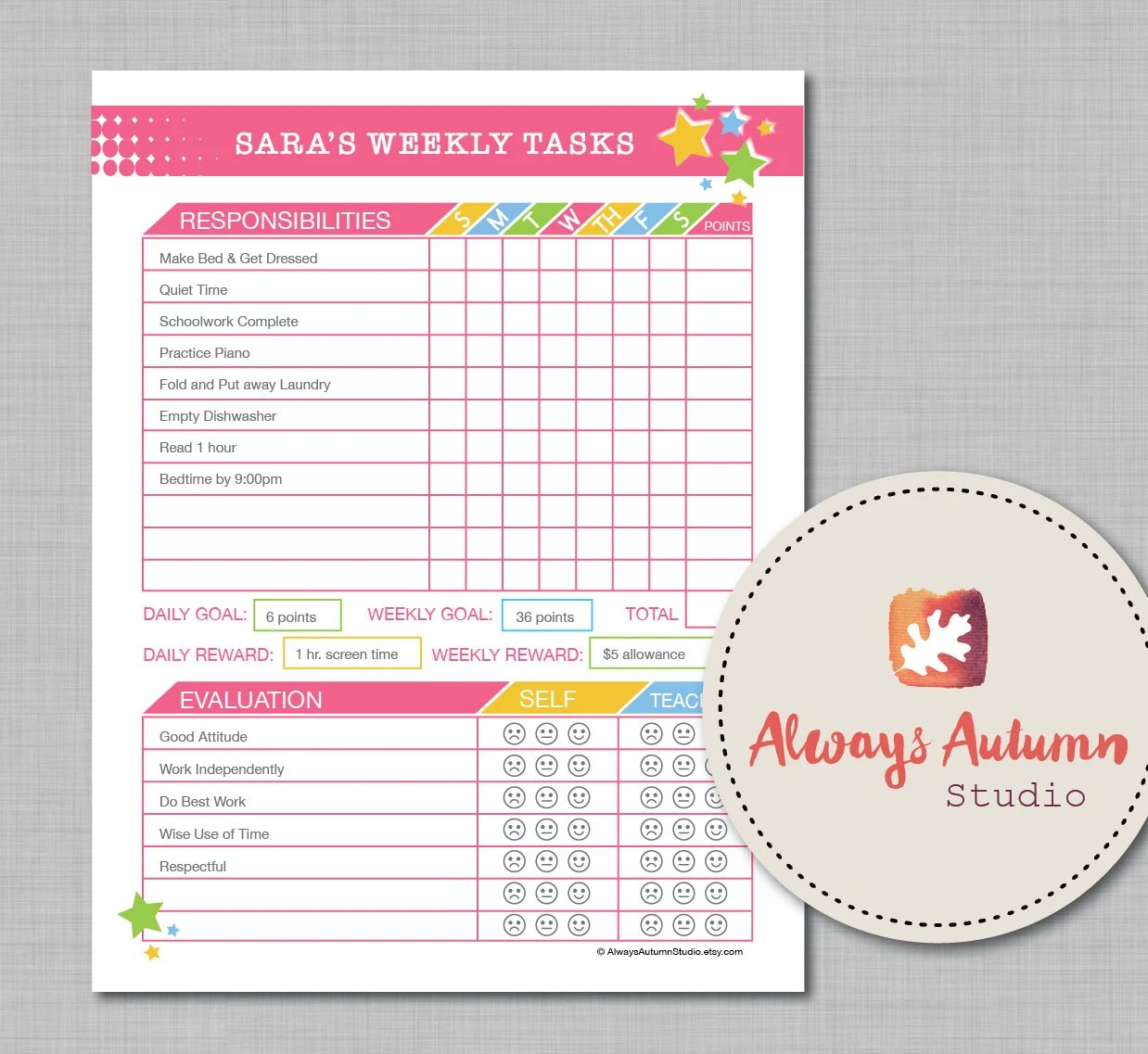 EDITABLE and Printable Weekly Chore Chart Pink with Custom Etsy