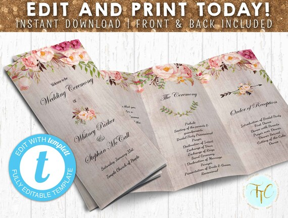 INSTANT DOWNLOAD Trifold Wedding Program Wedding Program Etsy
