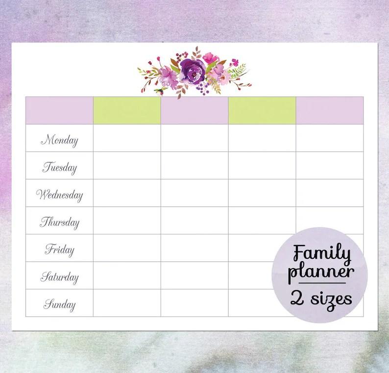 Family planner calendar Printable blank weekly calendar Etsy