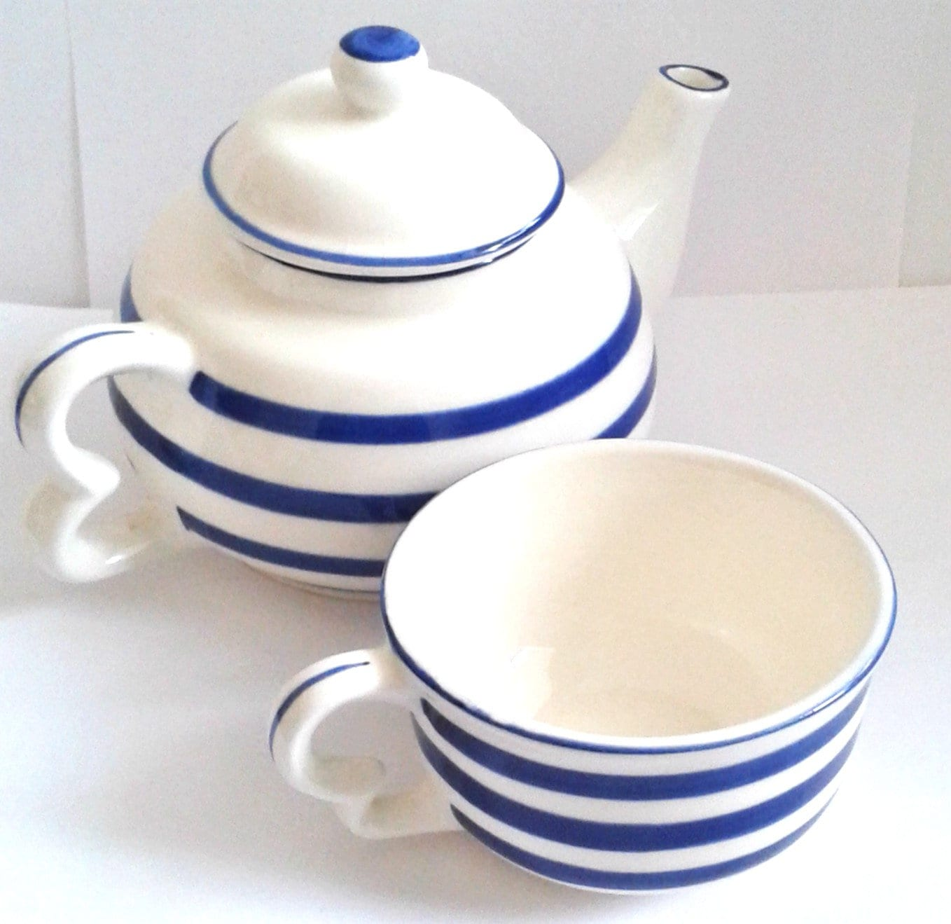 Teapot With Cup Vintage Blue And White Porcelain Teapot And Cup Set