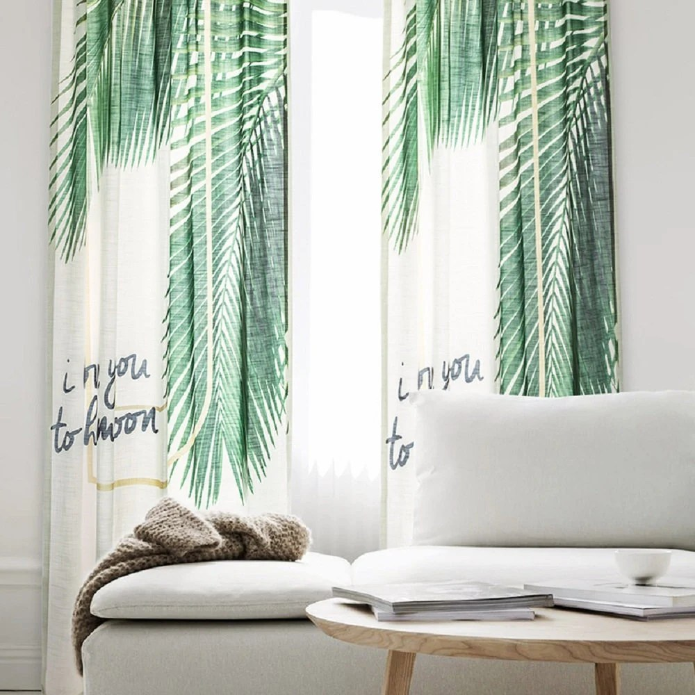Privacy Curtain For Bedroom Palm Tree One Panel Window Curtain Curtain Panels Bedroom Curtain Hook Curtain Privacy Curtain Drapery Bedroom Curtain