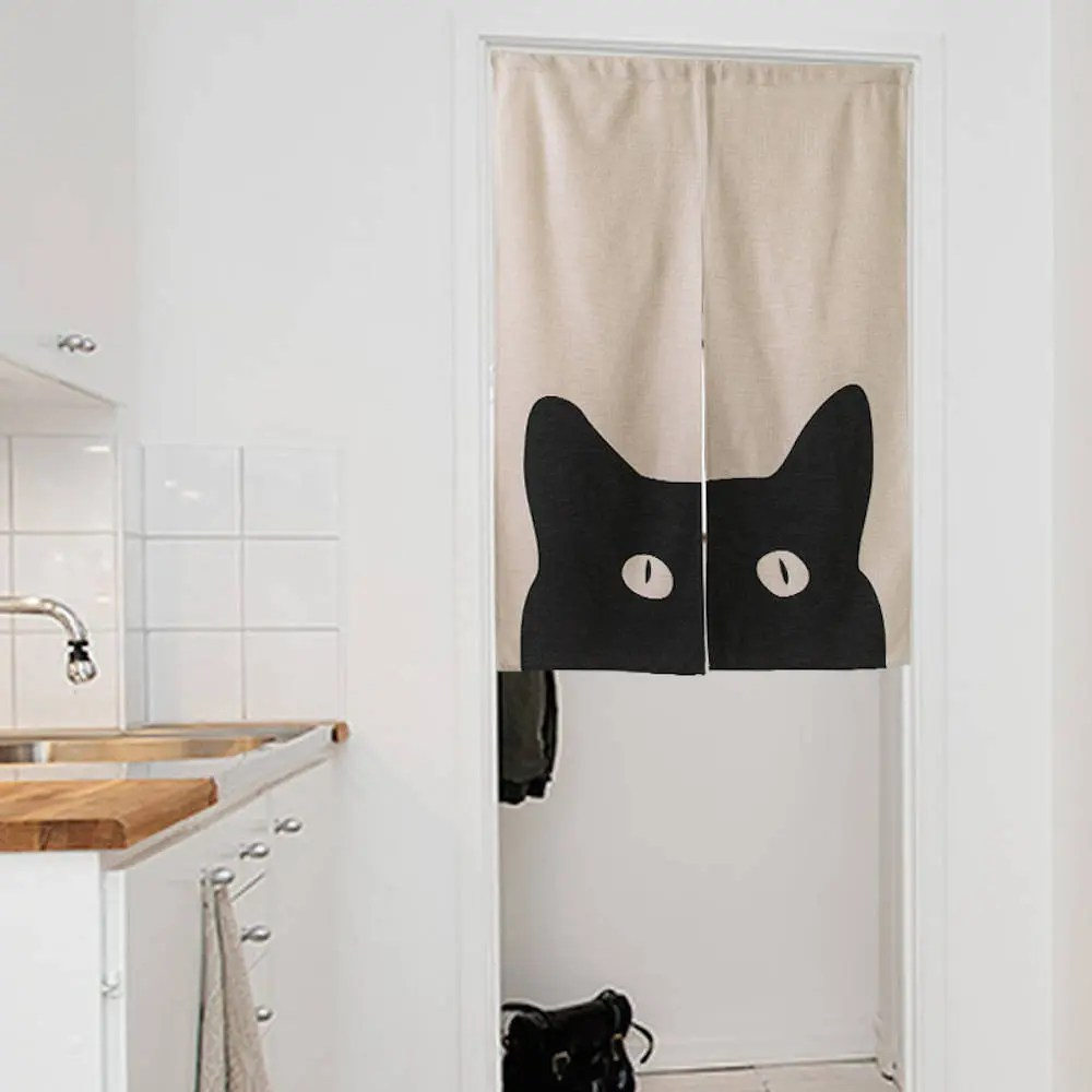 Closet Curtain Black Cat Panel Curtain Cat Wall Tapestry Cat Closet Curtain Short Noren Linen Japanese Curtain Bedroom Decor For Kids Cat Lover Decor