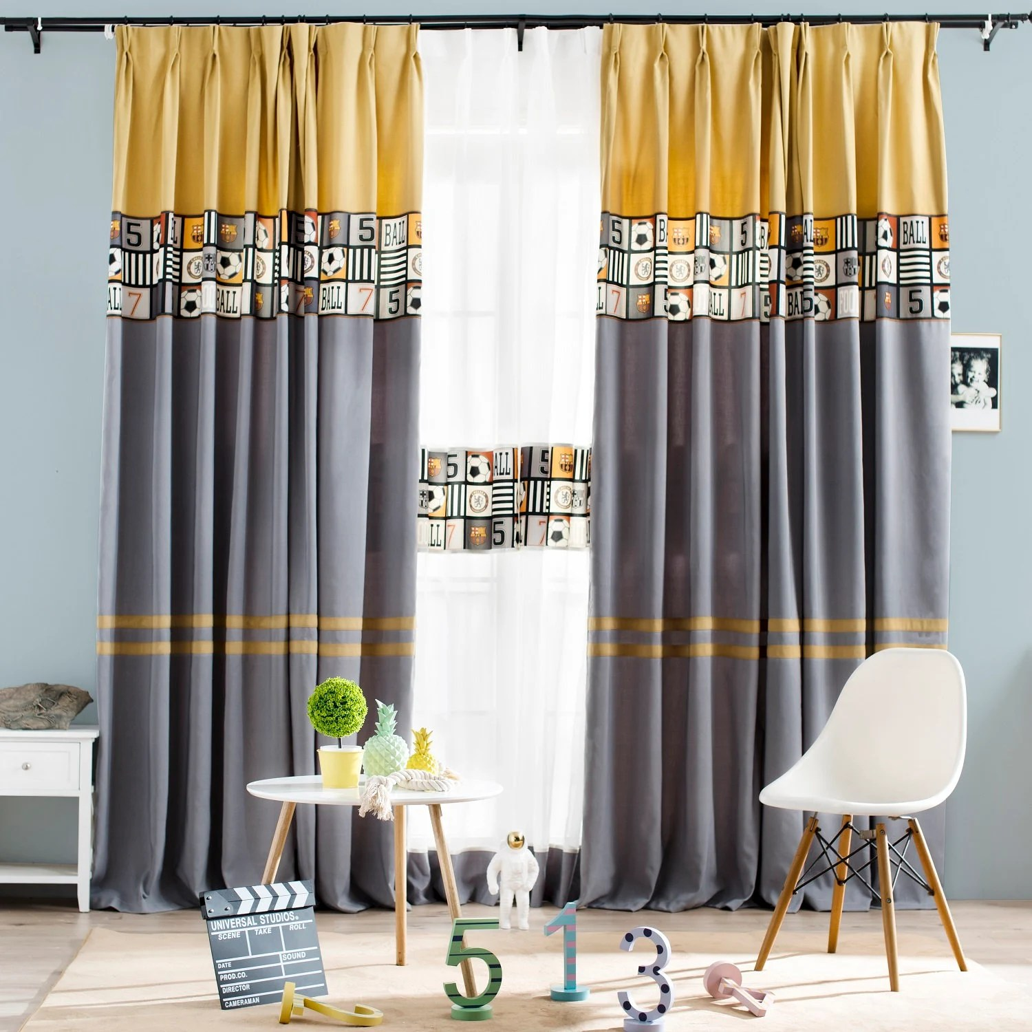 Privacy Curtain For Bedroom Curtain Panel Drape Curtain Boys Bedroom Window Curtain Blackout Privacy Curtain Earth Yellow And Gray Color Block With Football Pattern
