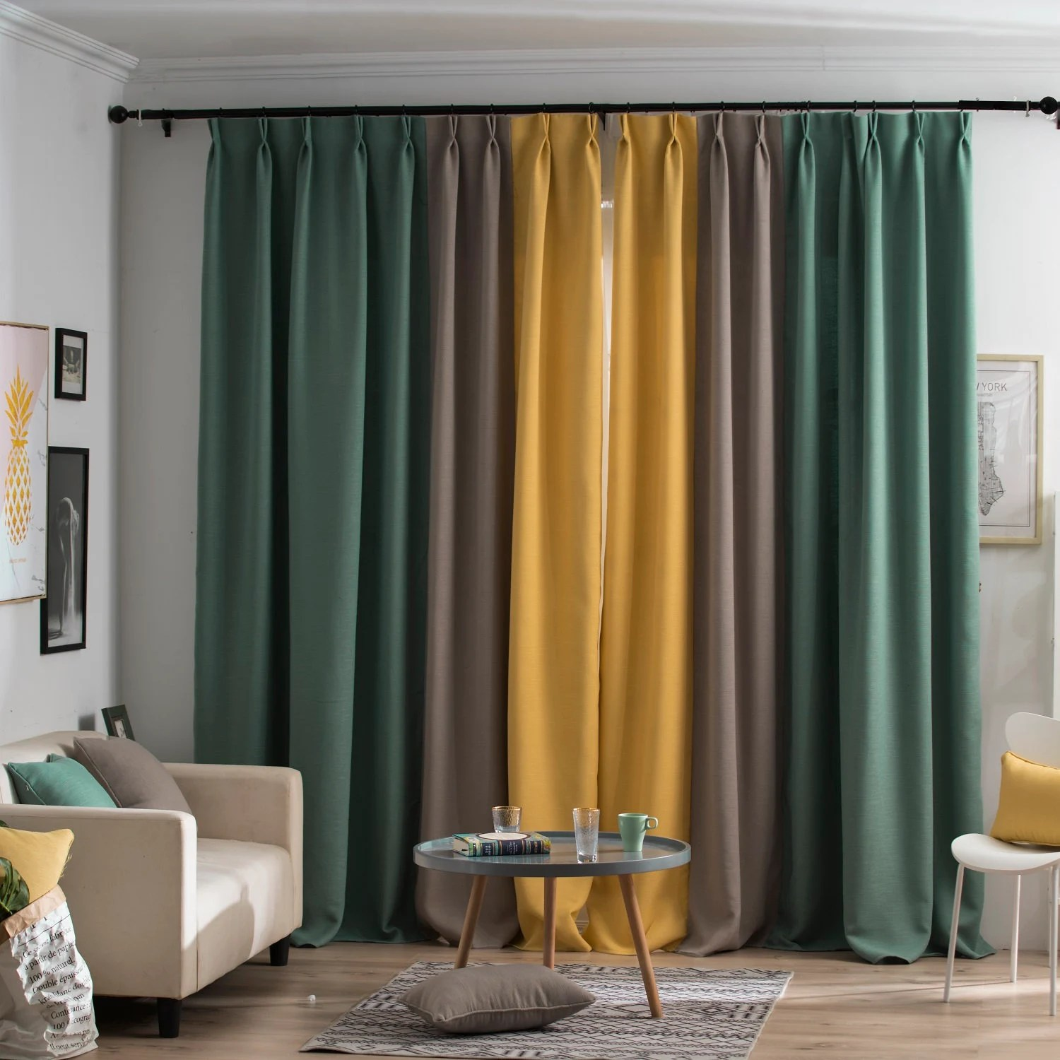Privacy Curtain For Bedroom Custom Drape Curtain Panel Elegant Living Room Drapery Bedroom Window Drape Privacy Curtain Blackout Yellow Gray And Green Color Block