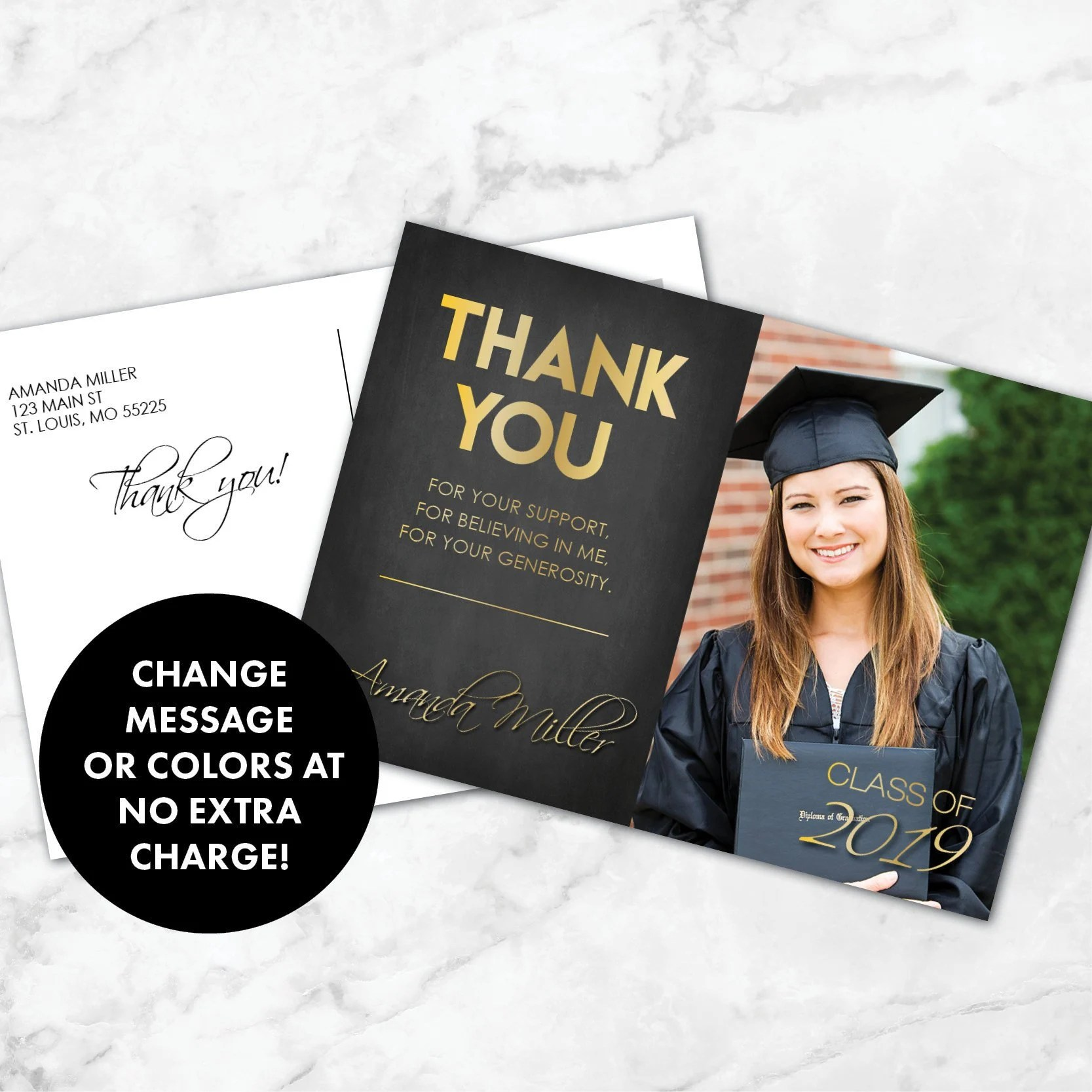 Graduation Thank You Card Thank You Graduation Card Etsy