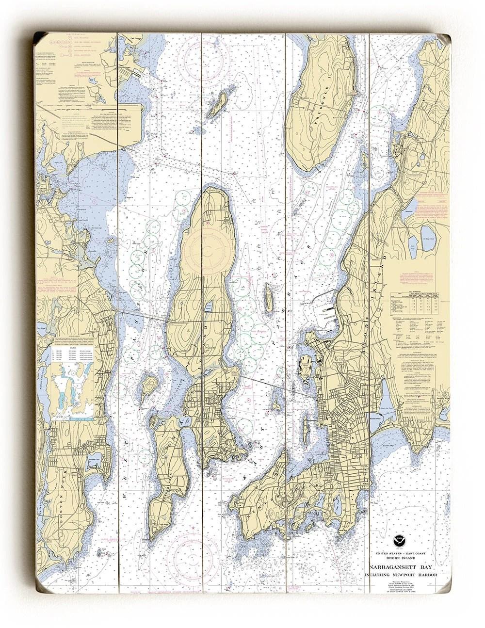 RI Narragansett Bay Newport Harbor RI Nautical Chart Sign Etsy