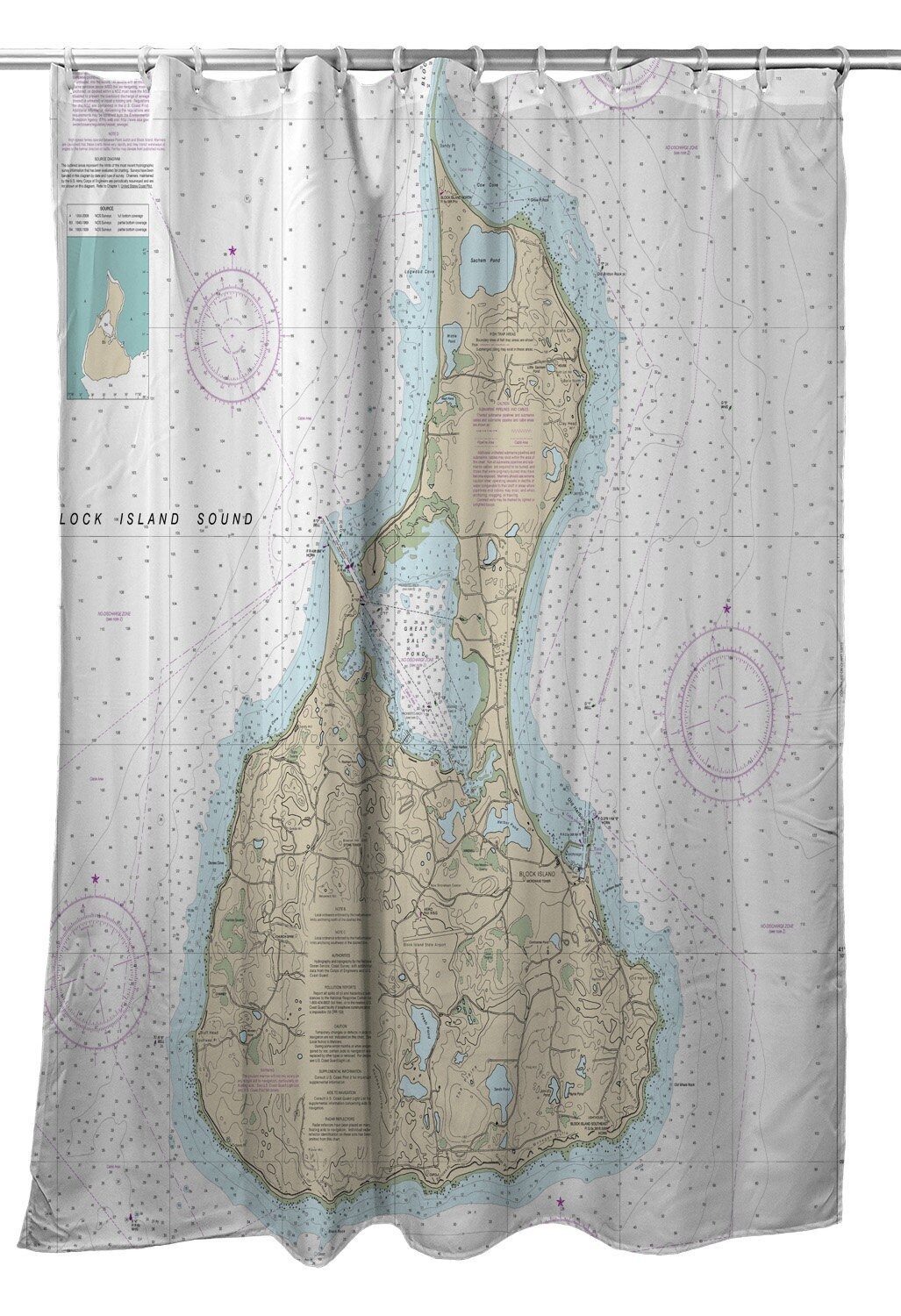 82 Shower Curtain Ri Block Island Ri Nautical Chart Shower Curtain Map Shower Curtain
