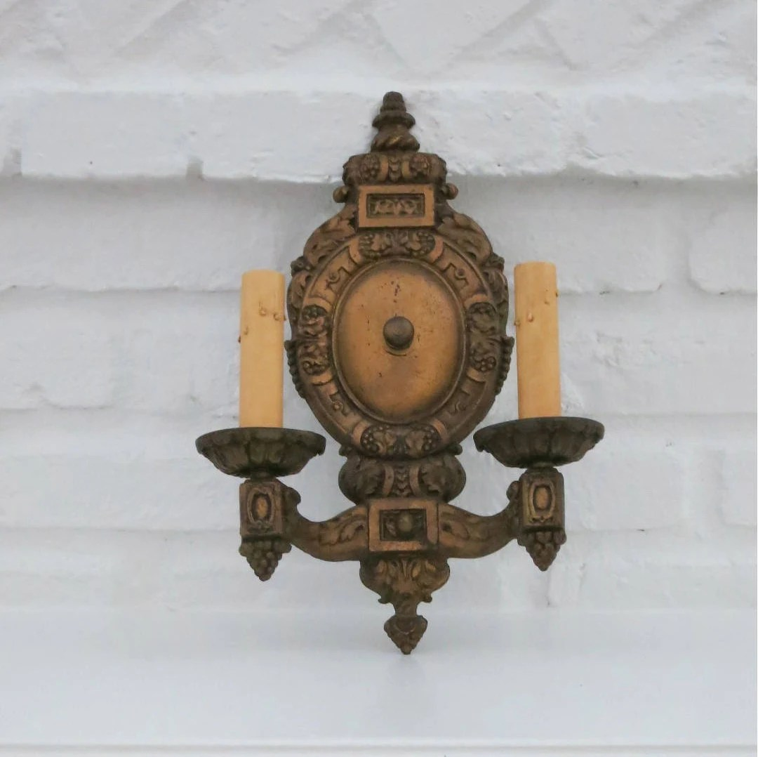 Restoration Hardware Vintage French Farmhouse Sconce Vintage Double Light Wall Sconce Gold Cast Iron 2 Light French Wall Fixture Anitque Electric Wall Hardware