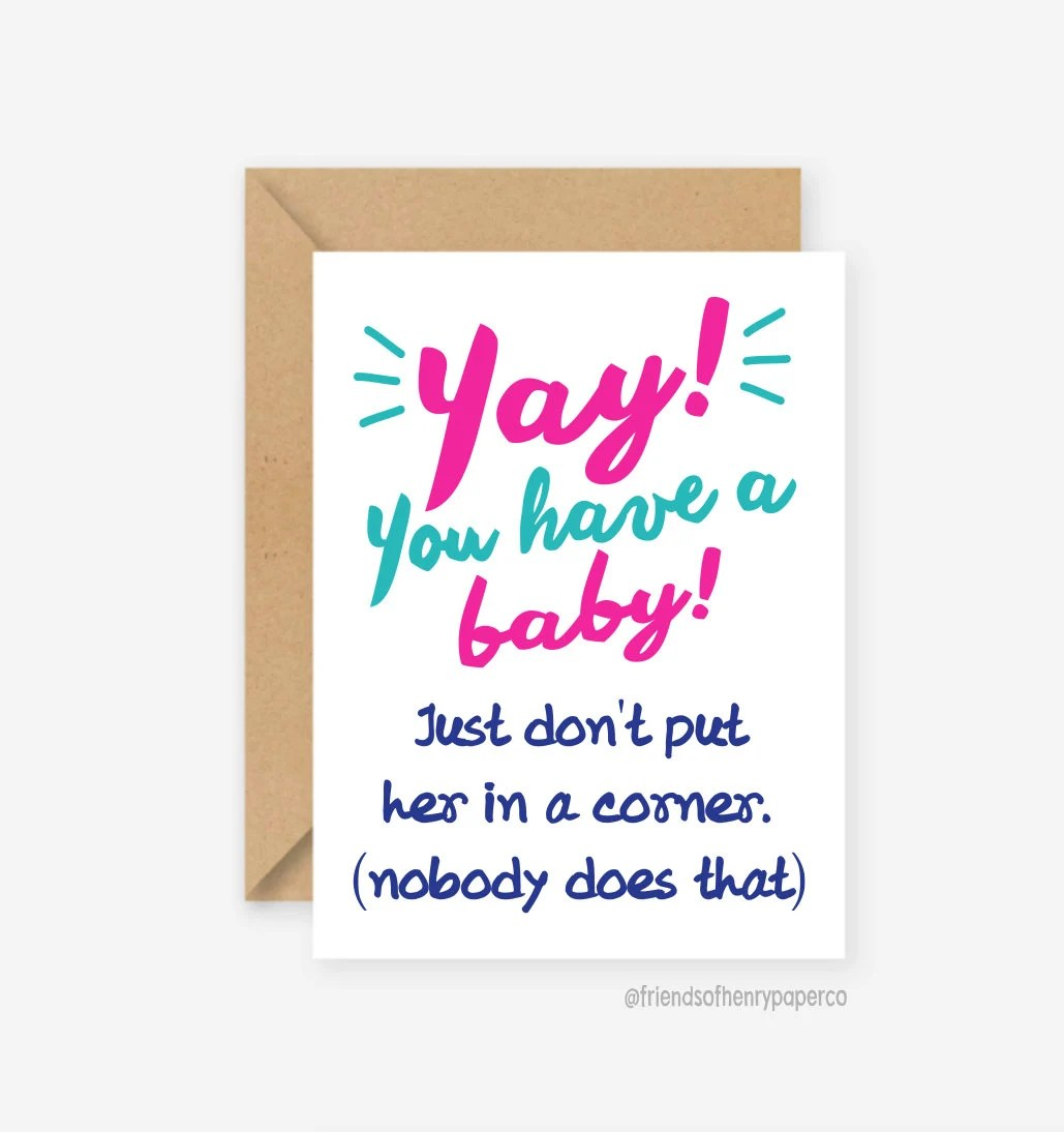 Funny new baby card funny baby card baby congratulations Etsy