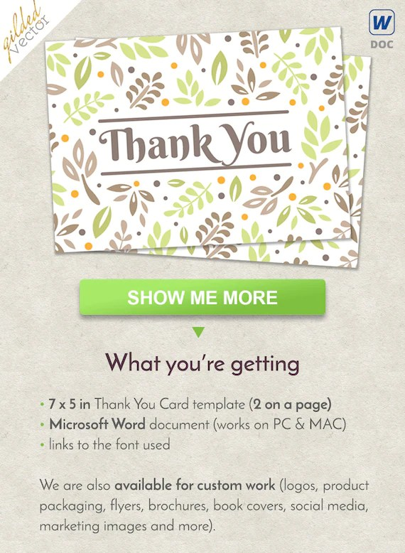 DIY Thank You Card Floral Card Thank You Template Nature Etsy