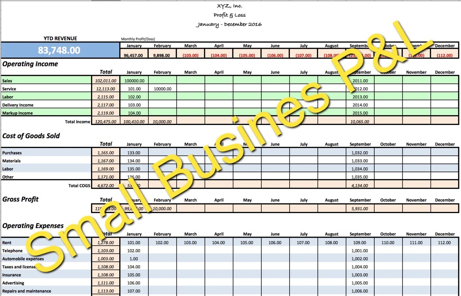 Small Business Income/Expense Tracker Monthly Budget and Cash Etsy